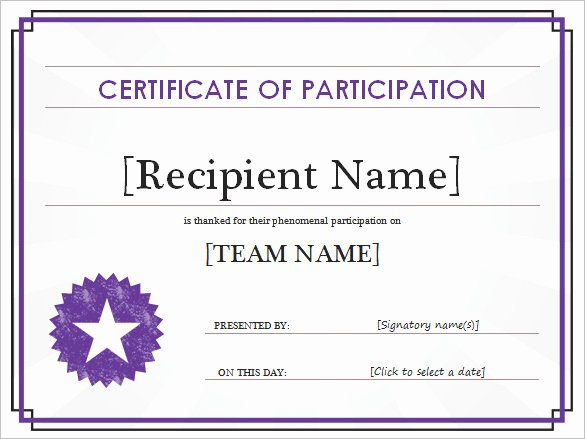 Certificate Of Participation Template Awesome Word Certificate Template 49 Free Download Samples