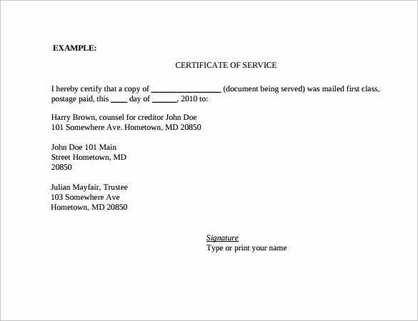 Certificate Of Service Template Awesome 17 Certificate Of Service Templates