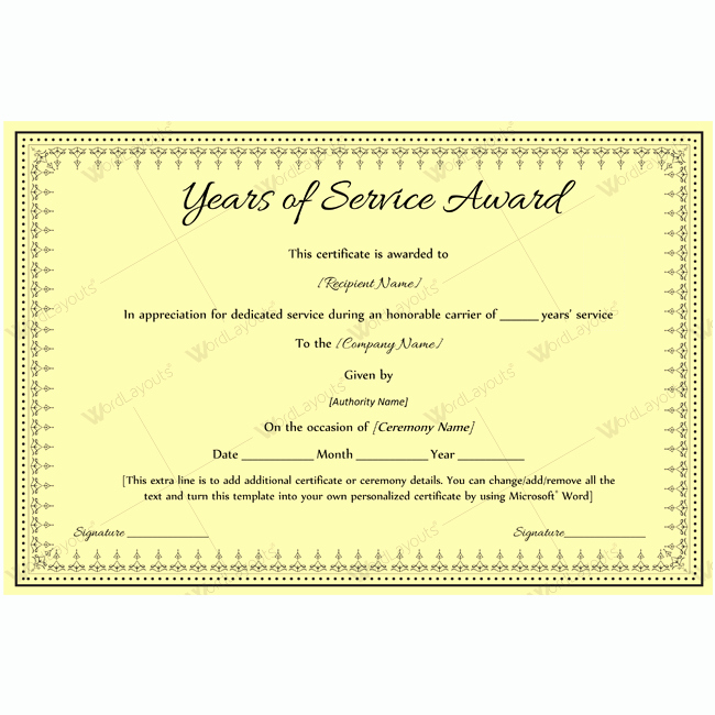 Certificate Of Service Template Awesome Years Of Service Award 08 Award Certificates