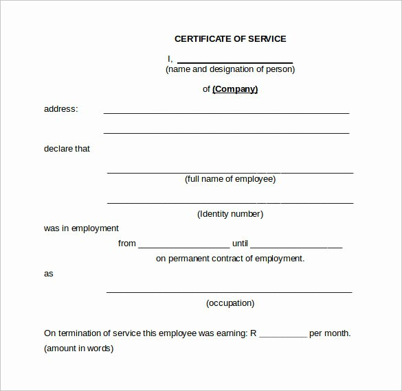 Certificate Of Service Template Best Of 17 Certificate Of Service Templates