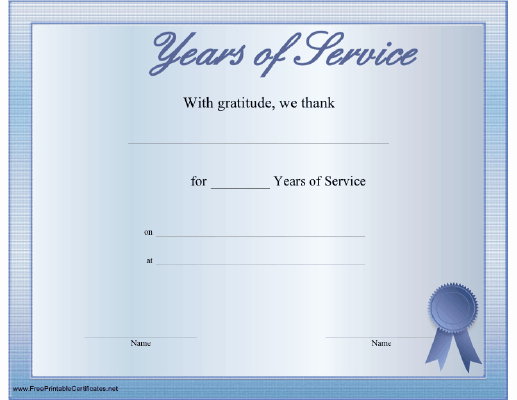 post 30 years of service certificate