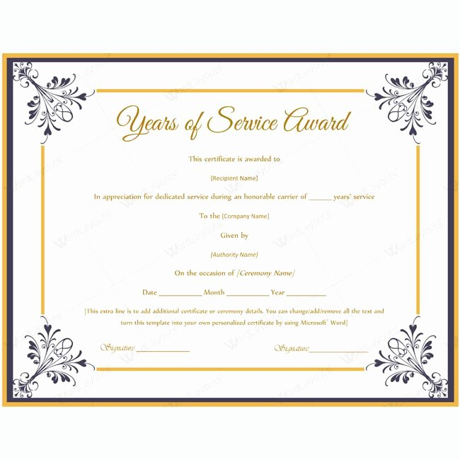 Certificate Of Service Template Inspirational 13 Best Years Of Service Award Images On Pinterest