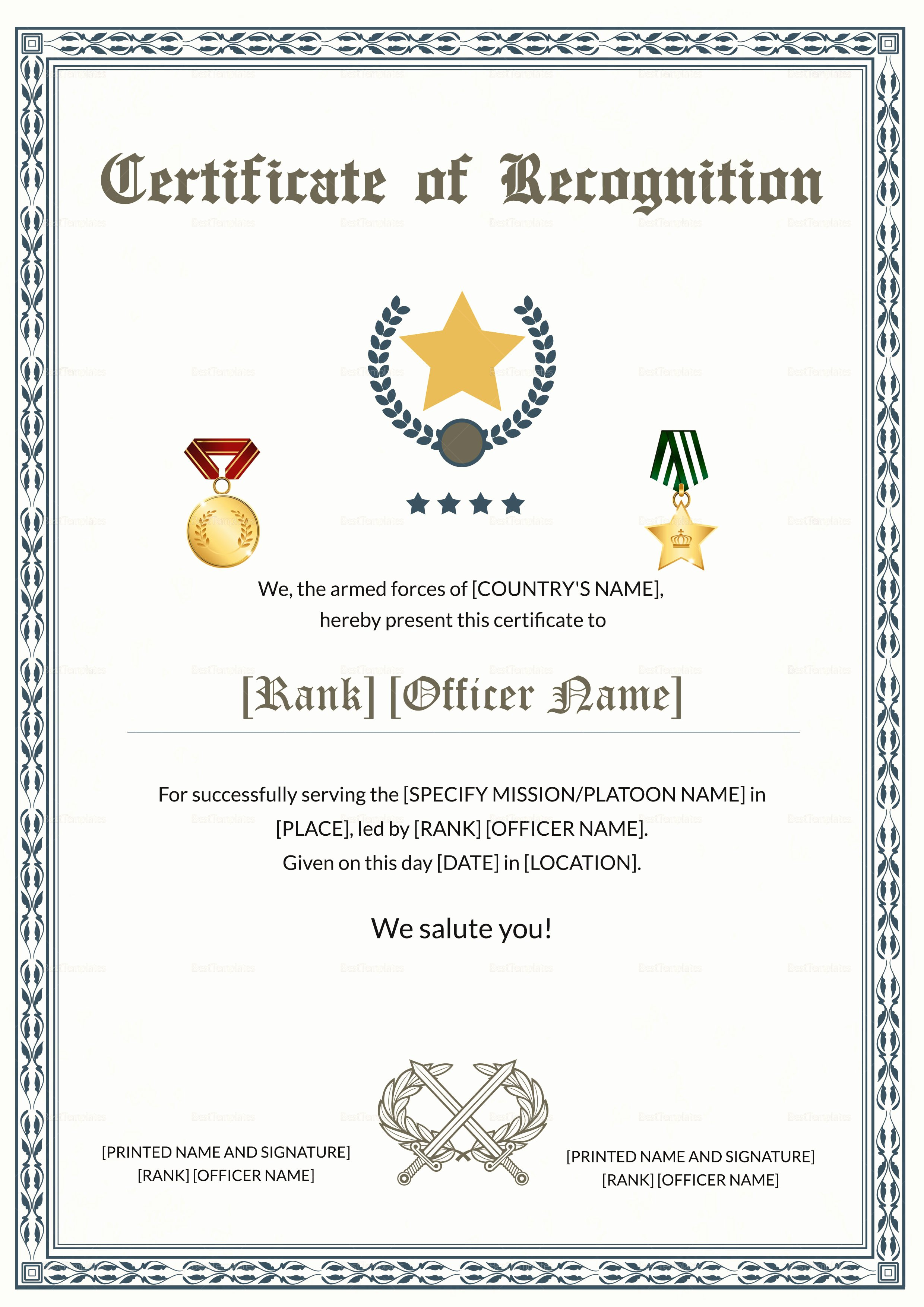 Certificate Of Service Template Inspirational Army Thank You Certificate Of Service Design Template In