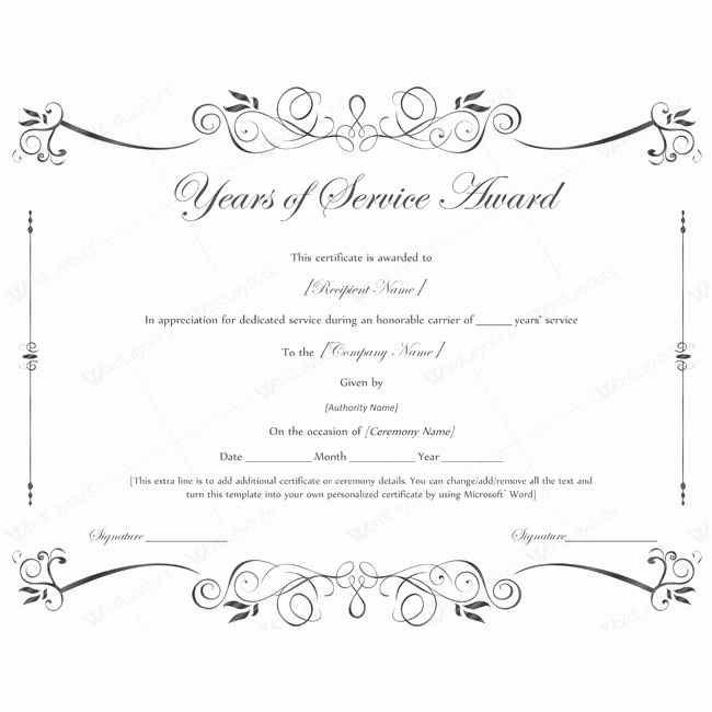 Certificate Of Service Template Inspirational Years Of Service Award 02 Pinterest