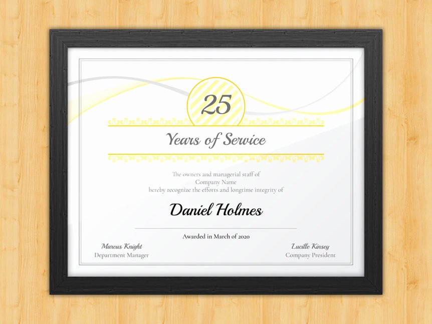 Certificate Of Service Template Lovely Longevity Years Of Service Certificate Award Avenue