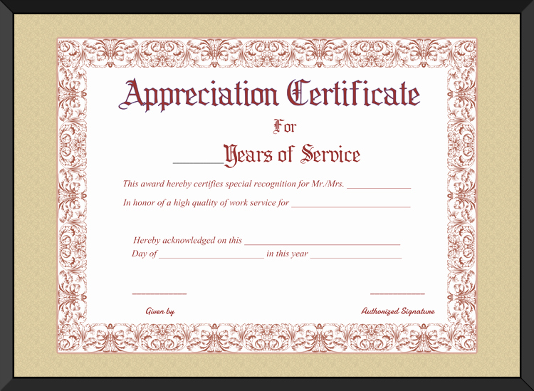 Certificate Of Service Template Luxury Free Printable Appreciation Certificate for Years Of Service