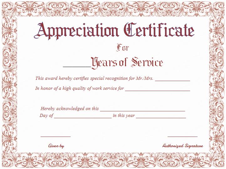Certificate Of Service Template New 15 Appreciation Certificate Designs