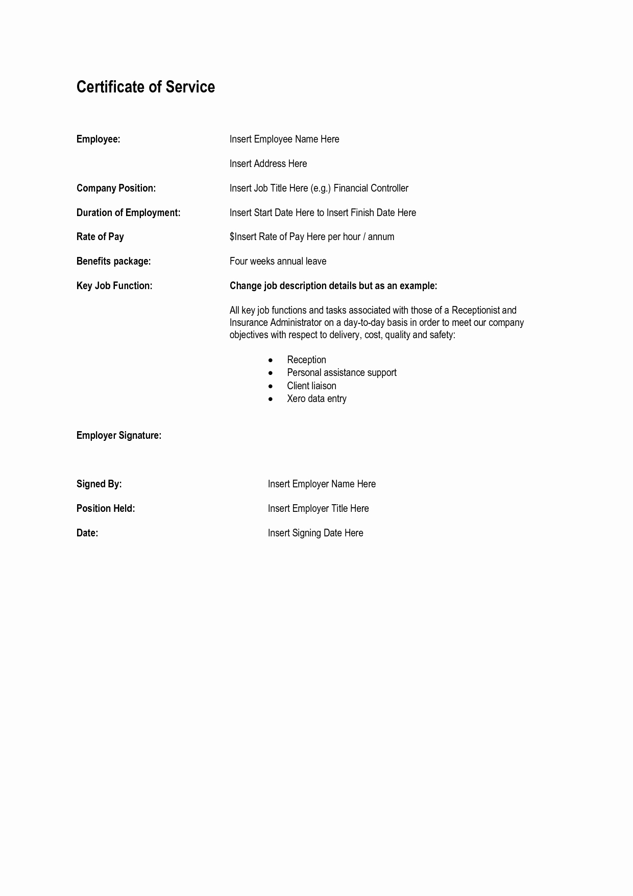 Certificate Of Service Template New 8 Best Of Certificate Service Template Years