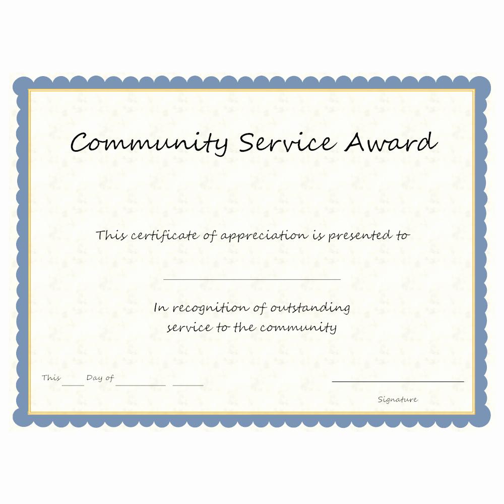 Certificate Of Service Template Unique Munity Service Award