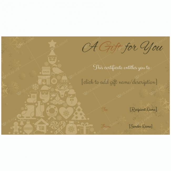 Certificate Template Google Docs Beautiful Golden Trees Christmas Gift Card Template Word Layouts