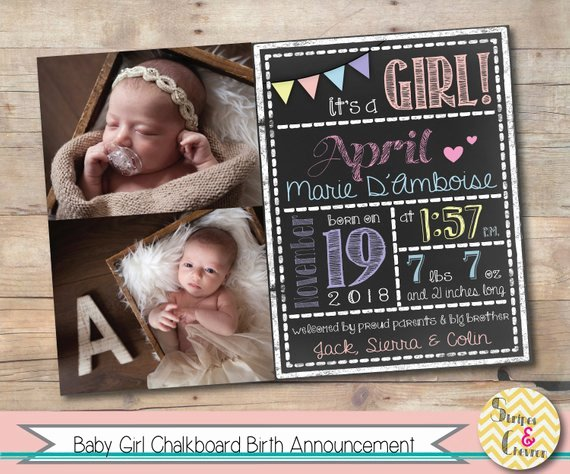 Chalkboard Baby Announcement Template Best Of Baby Girl Birth Announcement Template Chalkboard Baby