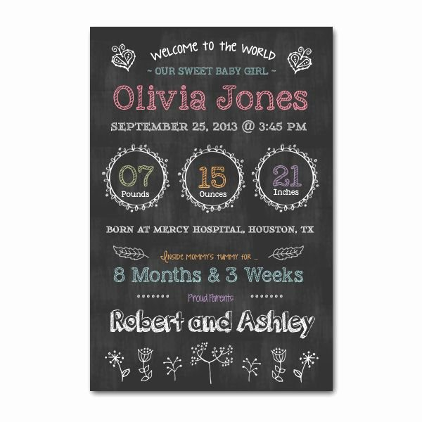 Chalkboard Baby Announcement Template Best Of Newborn Chalkboard Poster Template Word