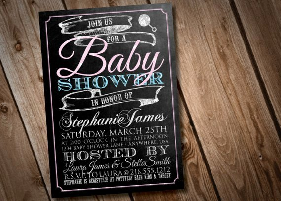 Chalkboard Baby Announcement Template New Diy Printable Chalkboard Baby Shower Invitation by
