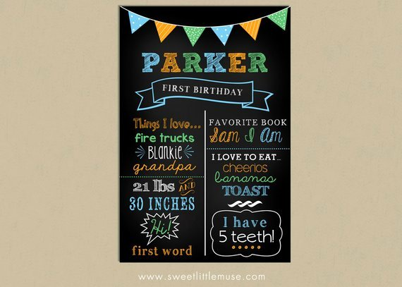 Chalkboard Birthday Sign Template Awesome First Birthday Chalkboard Template Chalkboard Birthday