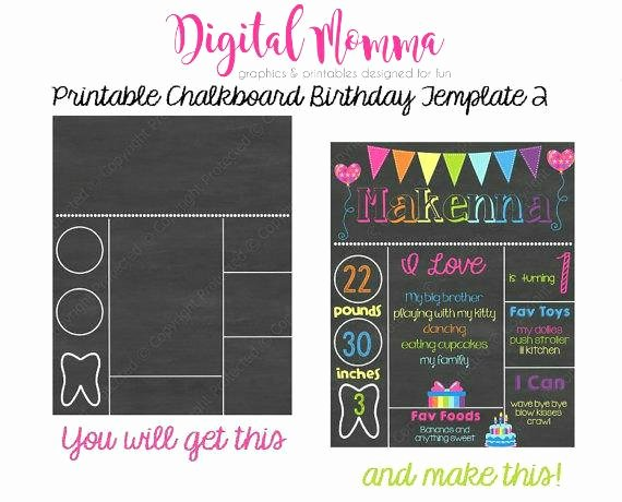 Chalkboard Birthday Sign Template Best Of Printable Chalkboard Birthday Template Personal & Mercial