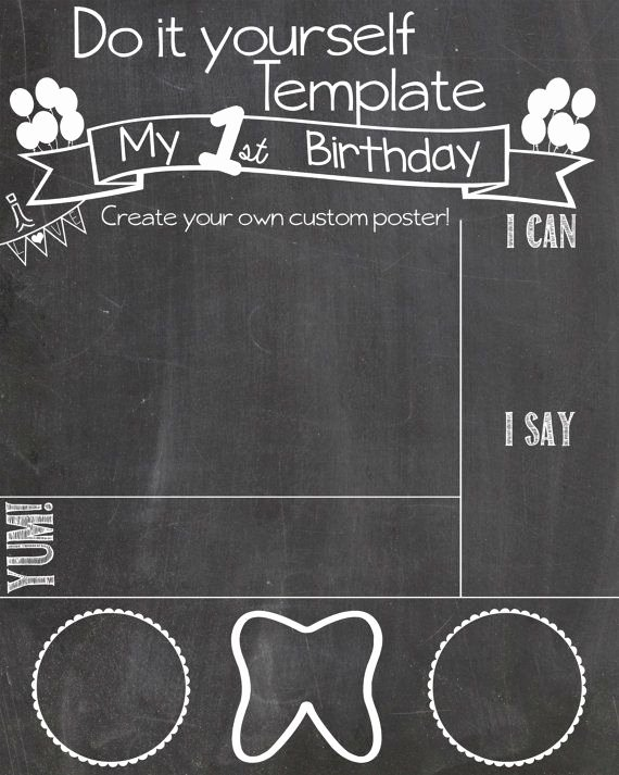 Chalkboard Birthday Sign Template New Diy First Birthday Chalkboard Poster by