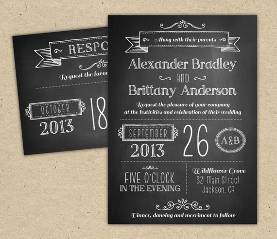 Chalkboard Invitation Template Free Beautiful Chalkboard Wedding Invitation Modern Invitation Template Diy