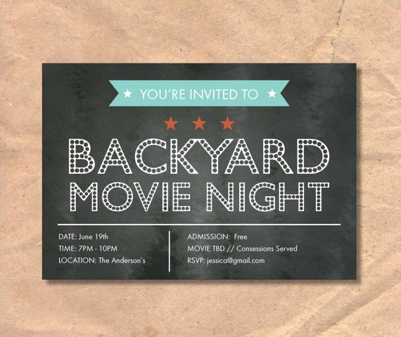 Chalkboard Invitation Template Free Fresh Printable Movie Night Invitation Marquee Chalkboard