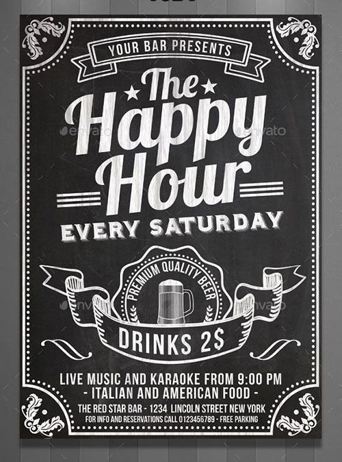 Chalkboard Poster Template Free Beautiful Happy Hour Chalkboard Flyer the Style Of This Flyer is