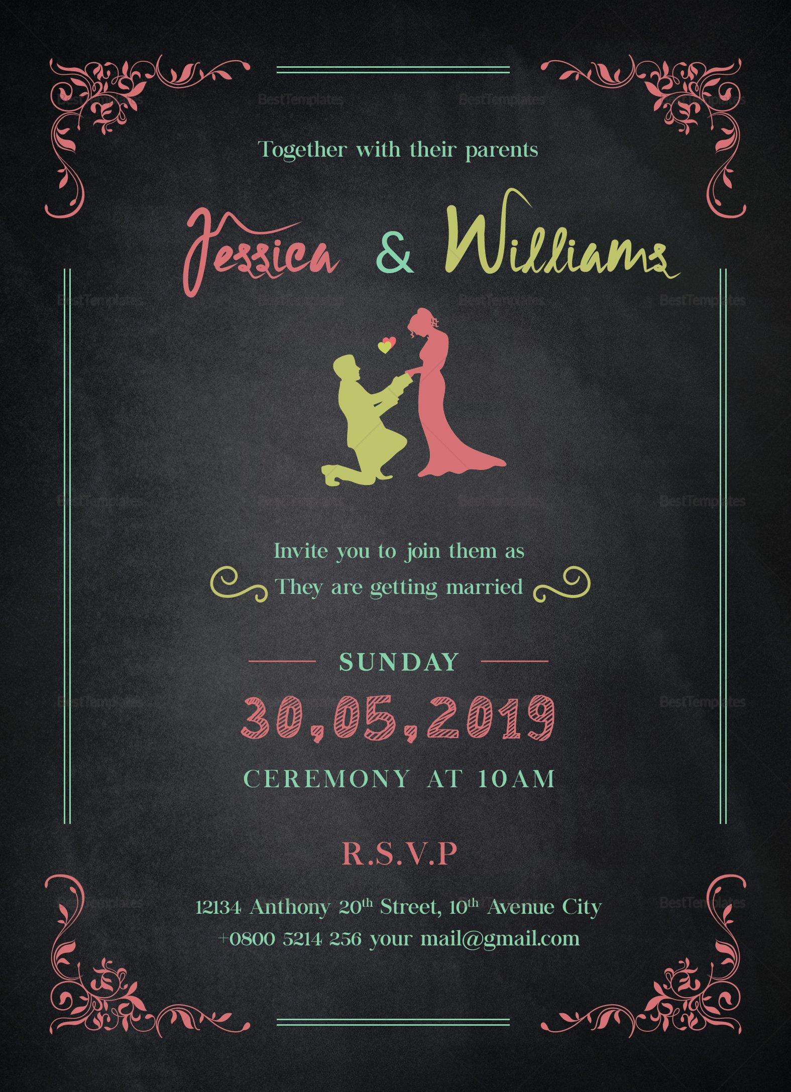 Chalkboard Template Microsoft Word Beautiful Chalkboard Wedding Invitation Design Template In Word Psd
