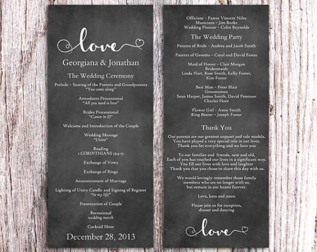 Chalkboard Template Microsoft Word Elegant Chalkboard Wedding Program Template Diy Editable Word File