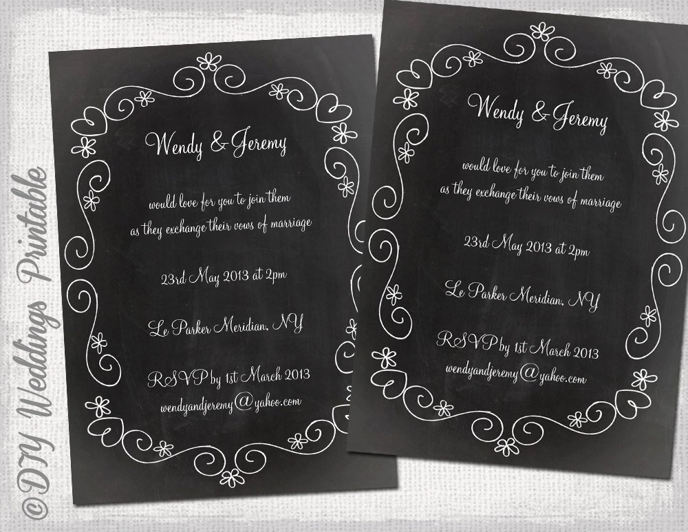 Chalkboard Template Microsoft Word Luxury Wedding Invitation Template Chalkboard Diy Wedding