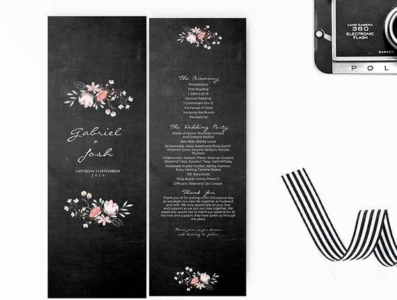 Chalkboard Template Microsoft Word Unique Wedding Program Template Editable Word Template Instant