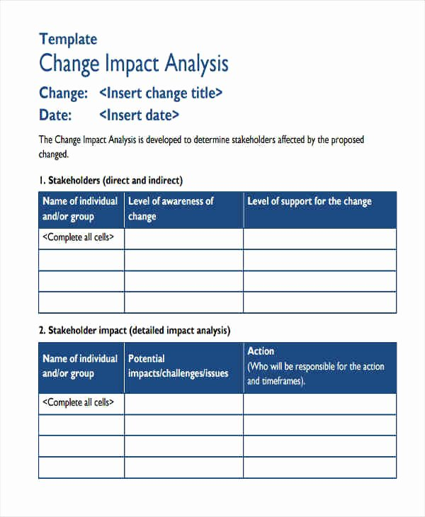 Change Impact Analysis Template Elegant Change Impact assessment Template