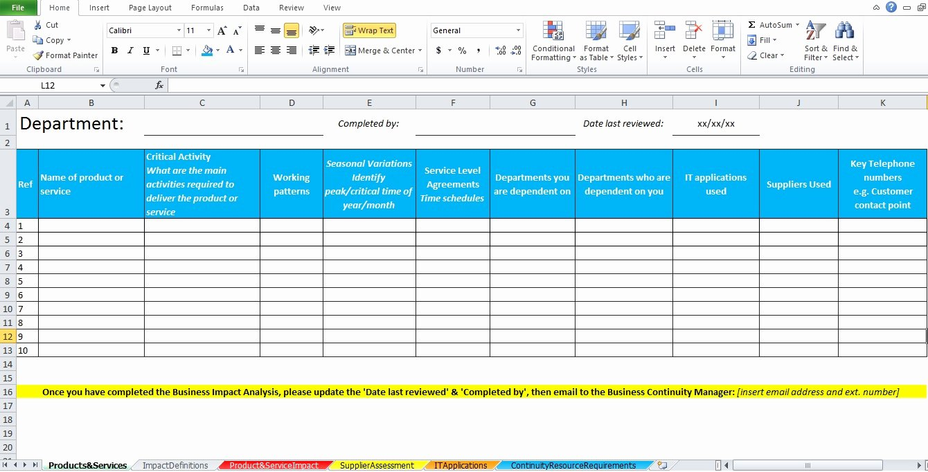 Change Impact Analysis Template Inspirational Business Impact Analysis Template Excel Excel Tmp