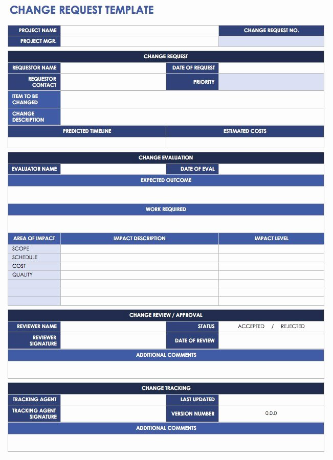 Change Management form Template Beautiful Free Change Management Templates