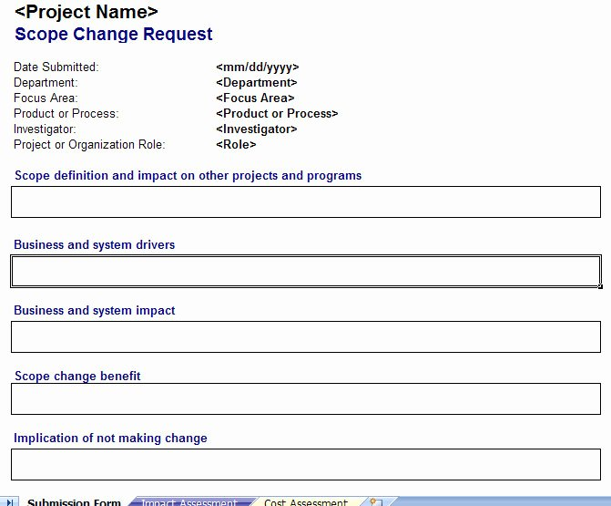 Change Management form Template Fresh Scope Change Management Plan