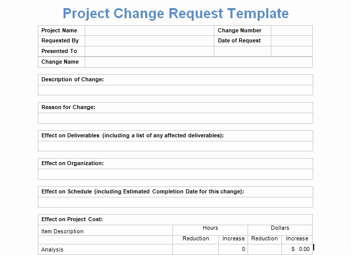 Change Management form Template Luxury Project Change Request Template