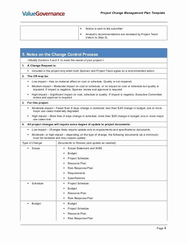 Change Management Plan Template Fresh Pm002 01 Change Management Plan Template