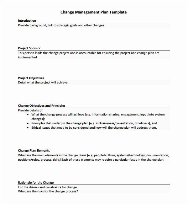 Change Management Plan Template New 12 Change Management Plan Templates