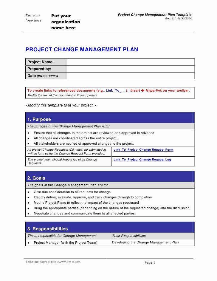 Change Management Plan Template New Change Management Plan Template