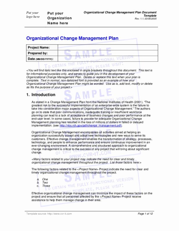 Change Management Planning Template Elegant Change Management Planning Template