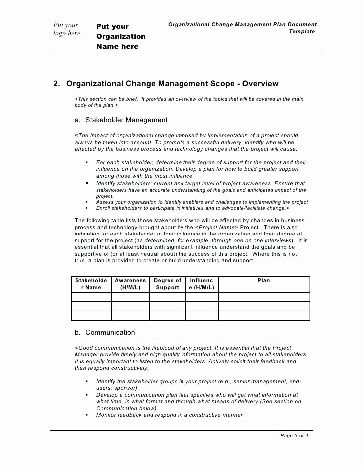 Change Management Planning Template Fresh Management Change Template Excel Unique Plan Present