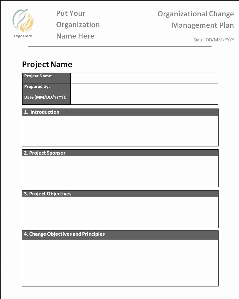 Change Management Planning Template Unique Plan Templates