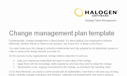 Change Management Strategy Template Awesome Change Management Plan Template Uk