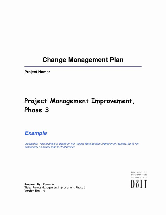 Change Management Strategy Template Elegant Change Plan Template and Example