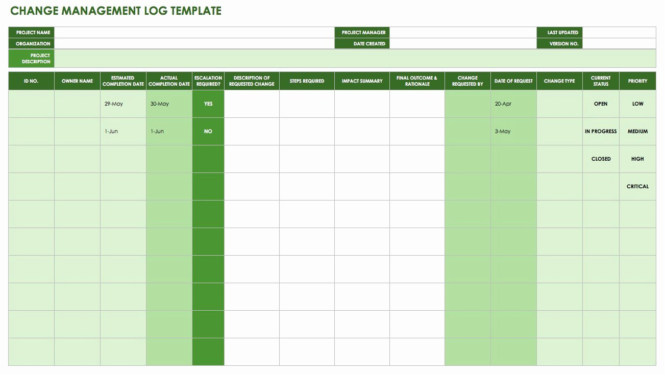 Change Management Template Excel Fresh Free Change Management Templates