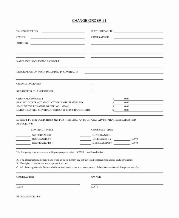 Change order form Template Beautiful 24 Change order Templates Pdf Doc