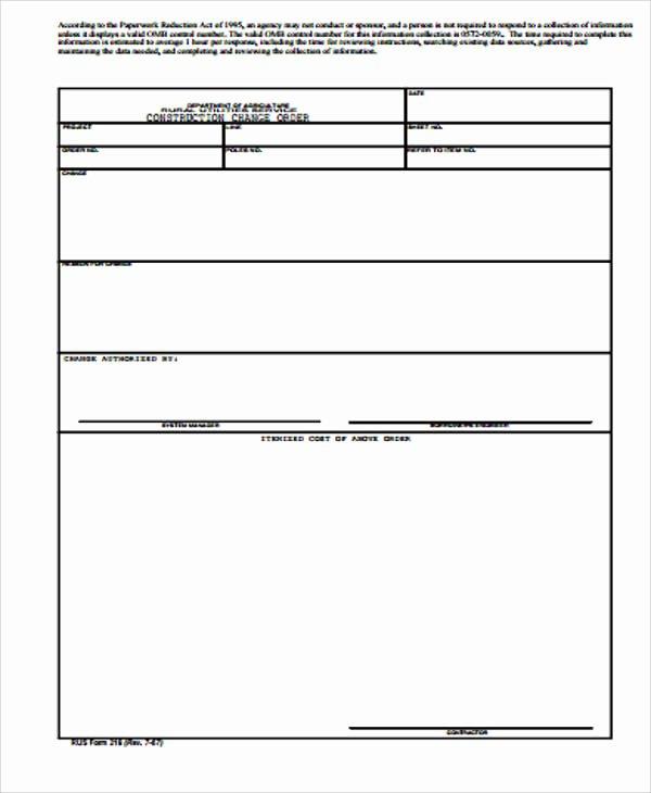 Change order form Template Elegant 7 Sample Construction Change order forms