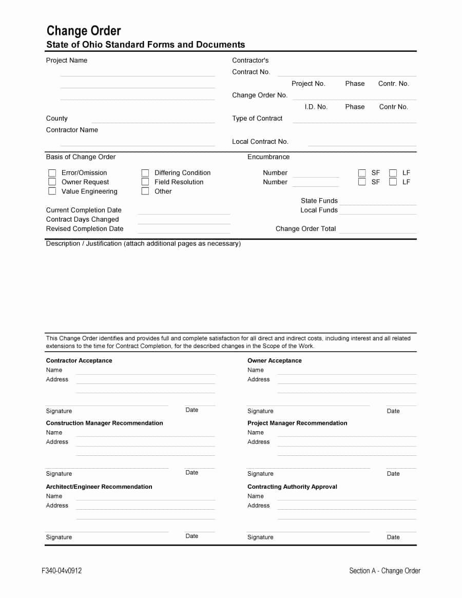 Change order form Template Inspirational 40 order form Templates [work order Change order More]