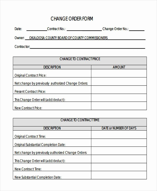 Change order forms Template Awesome Change order forms 9 Free Word Pdf format Download