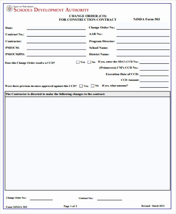 Change order forms Template Best Of 7 Sample Construction Change order forms