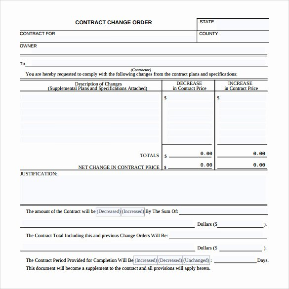 Change order forms Template Fresh 11 Change order Samples