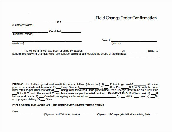 Change order forms Template Fresh 8 Change order Templates Docs Pages