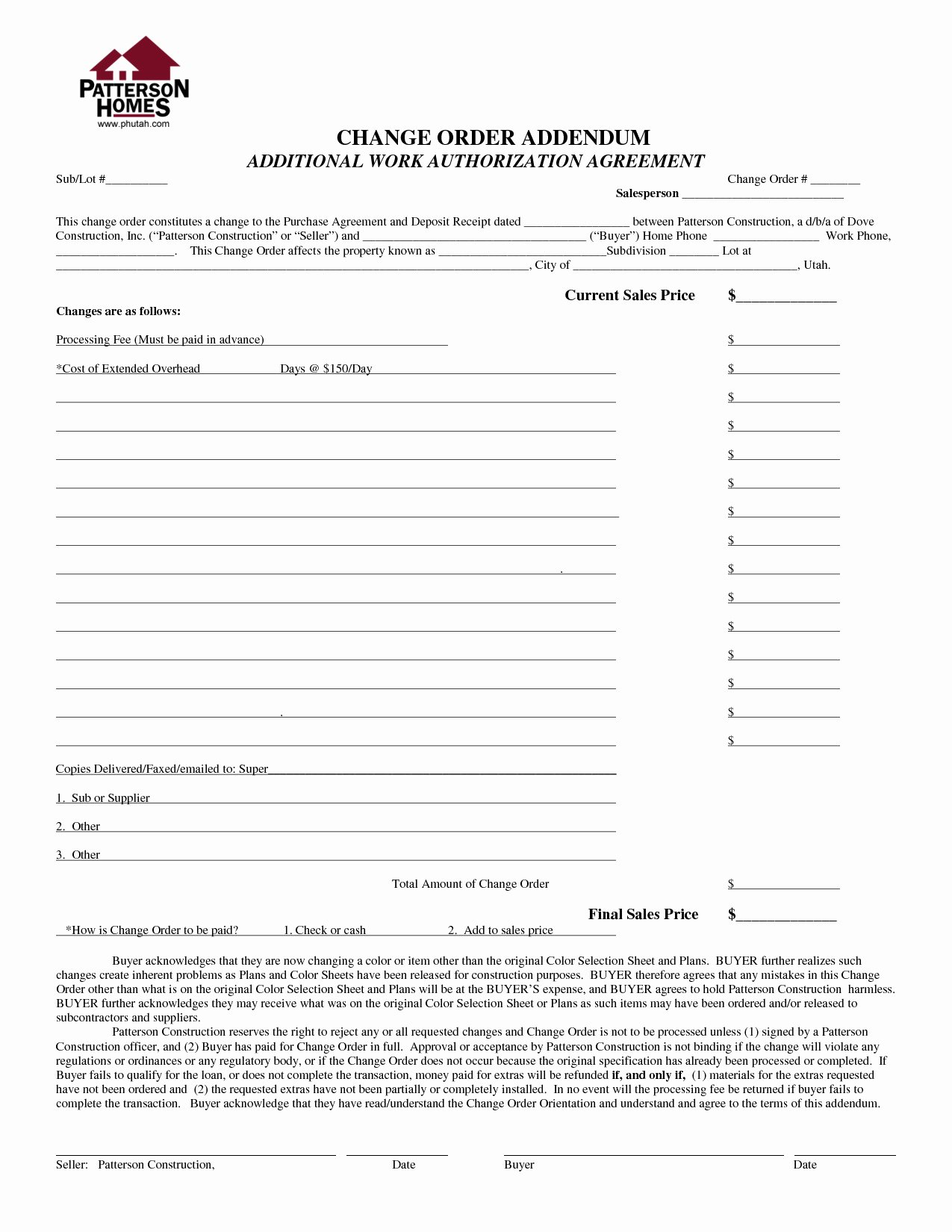 Change order forms Template Lovely 19 Construction Work order Steamtraaleren Borgenes