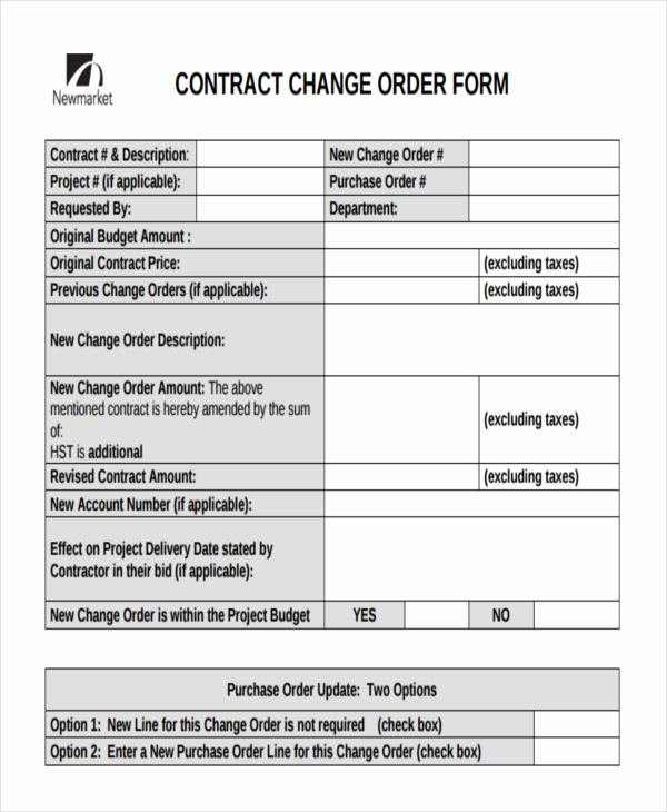 Change order forms Template Unique Change order forms 9 Free Word Pdf format Download